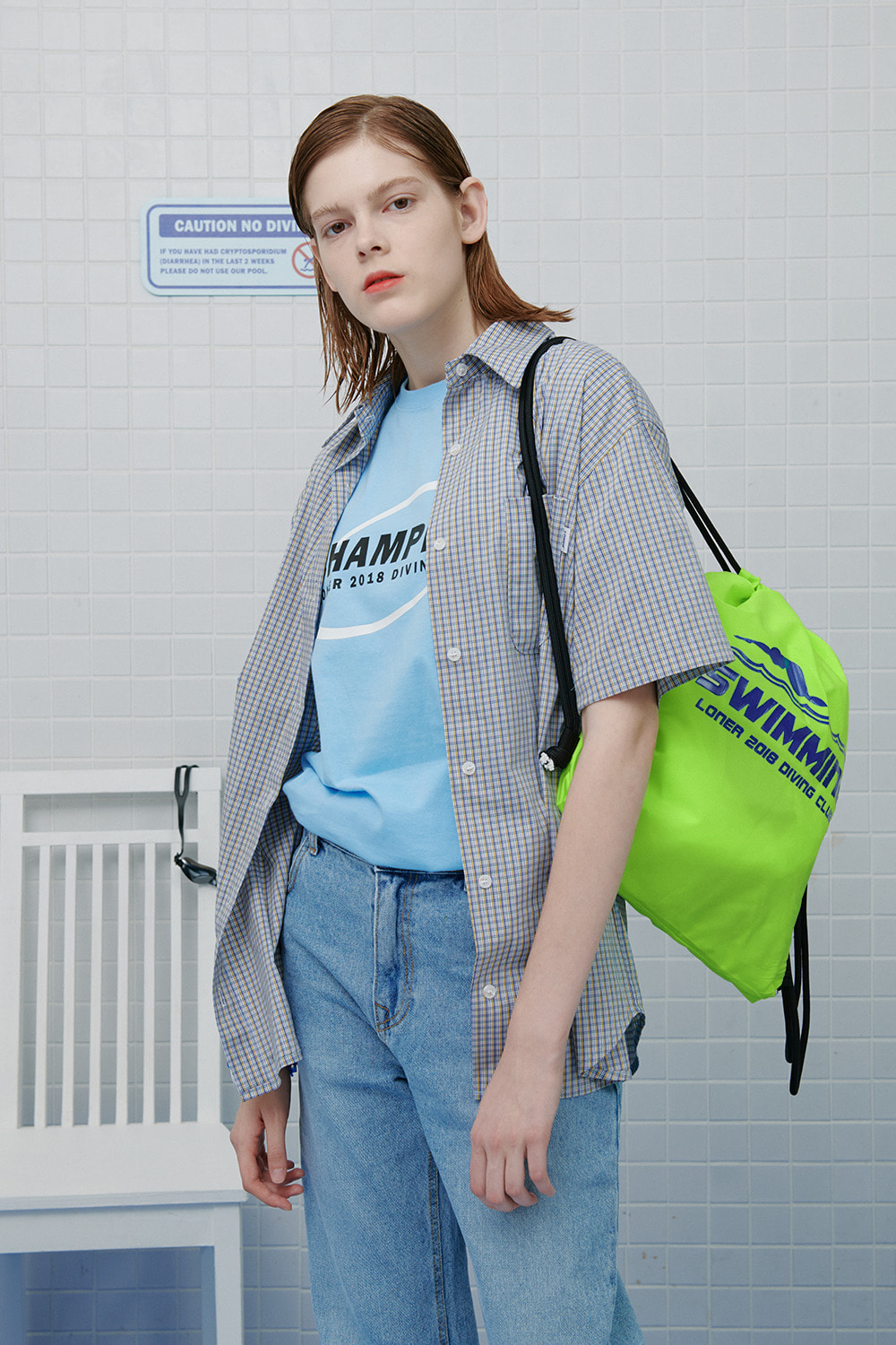 Swimming string bag-neon green (기간한정 09.11 - 09.17)