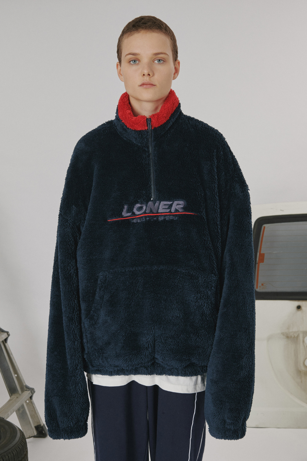 [LONER SEASON OFF SALE] Fur fleece half zipup_navy (기간한정 01.17 - 01.23)