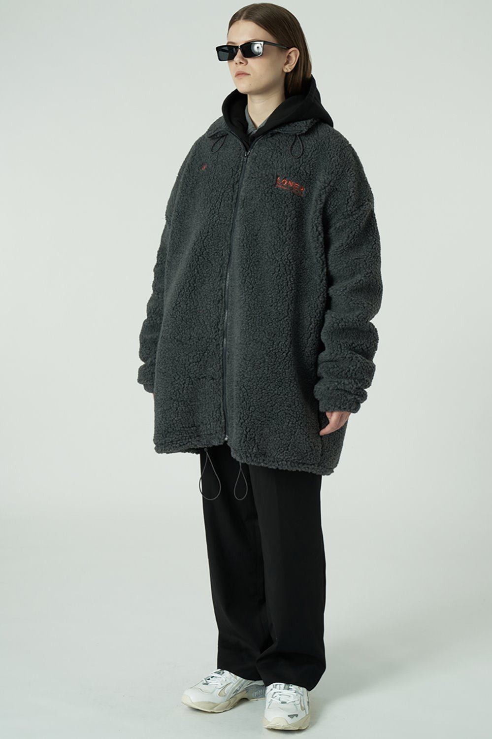 [L]Gmt long fleece jacket-charcoal (기간한정 09.11 - 09.17)