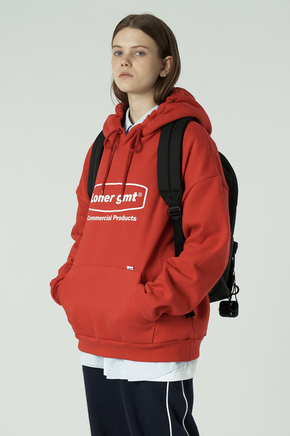 [L]Curve rectangle logo hoodie-red (기간한정 06.19 - 06.25)