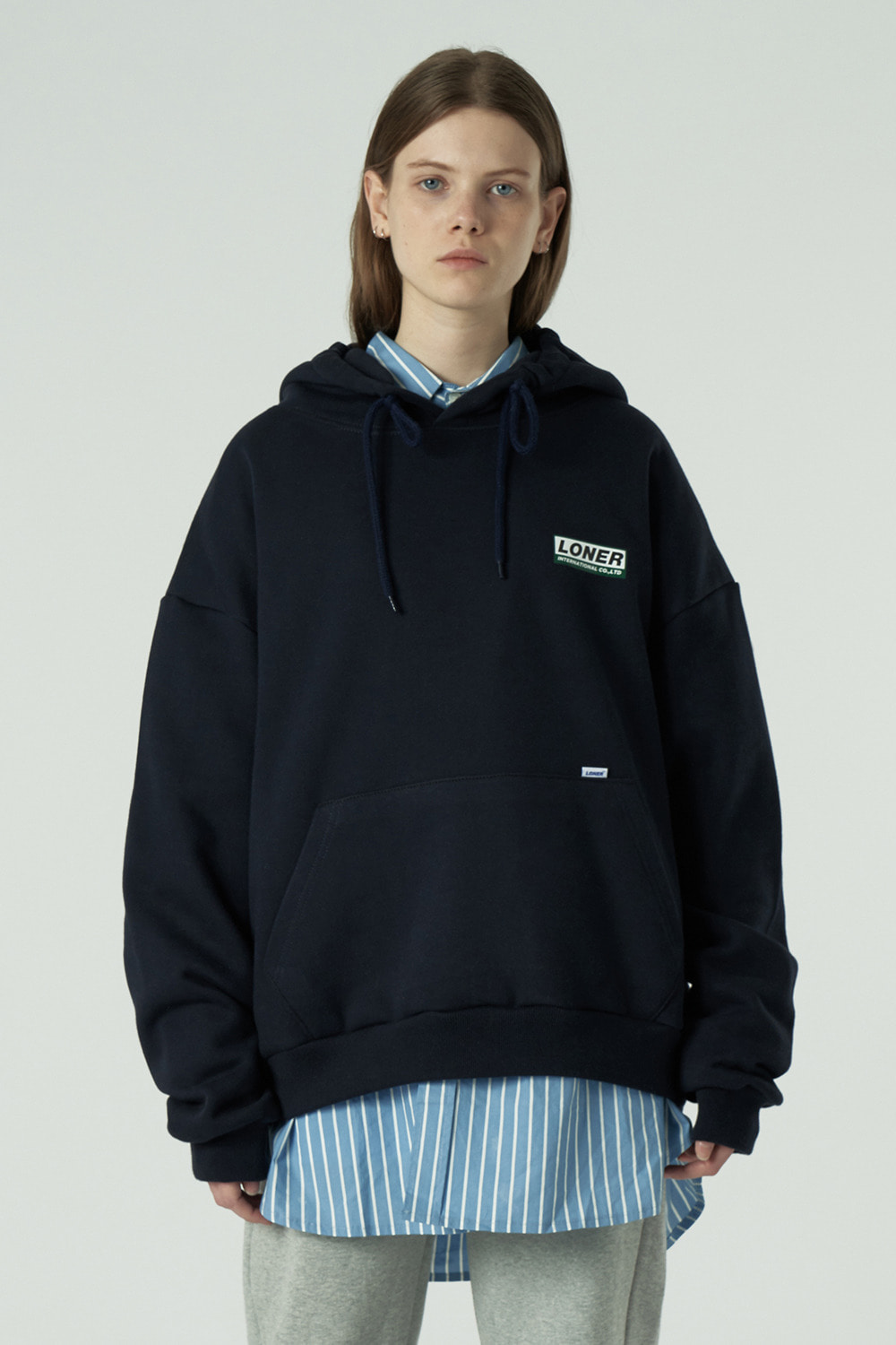 [20SS OPEN SALE][L] Triple Square printing hoodie-navy (기간한정 05.15 - 05.21)