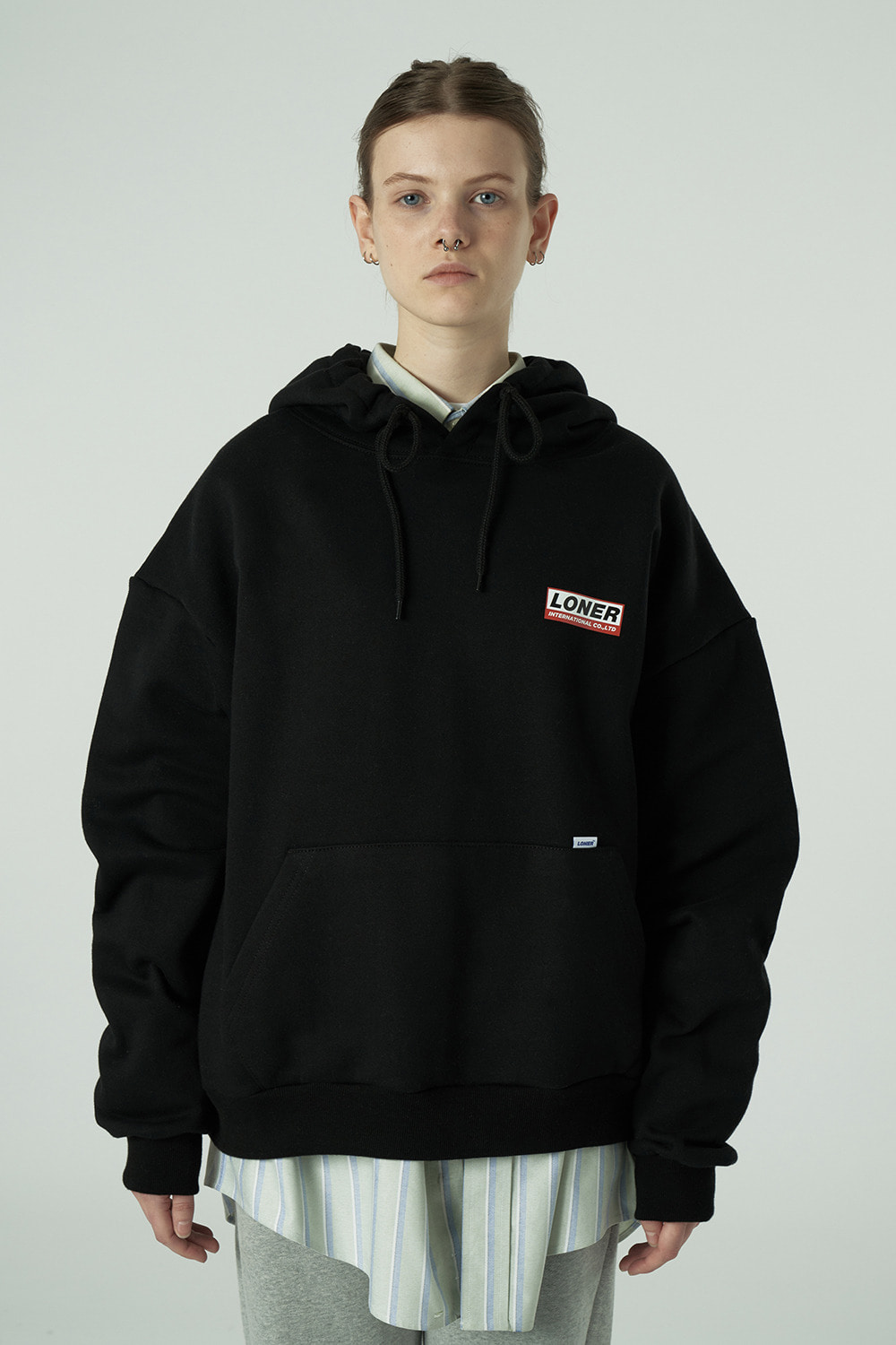 [20SS OPEN SALE 03.13 - 03.19][L] Triple Square printing hoodie-black