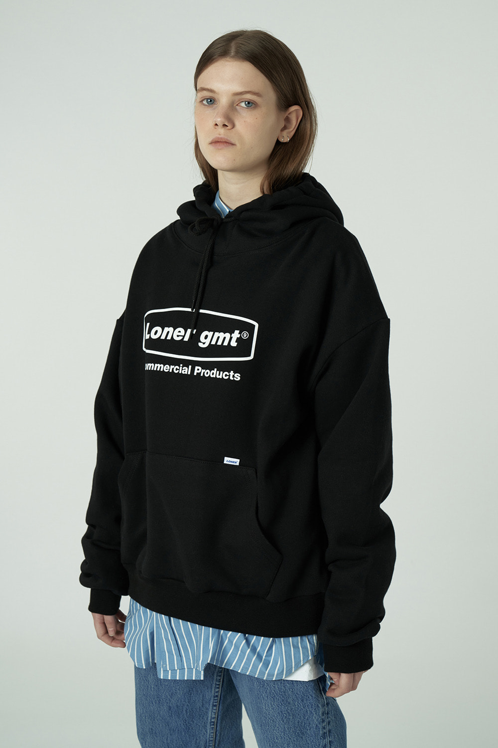 [20SS OPEN SALE][L] Curve rectangle logo hoodie-black (기간한정 02.21 - 02.27)