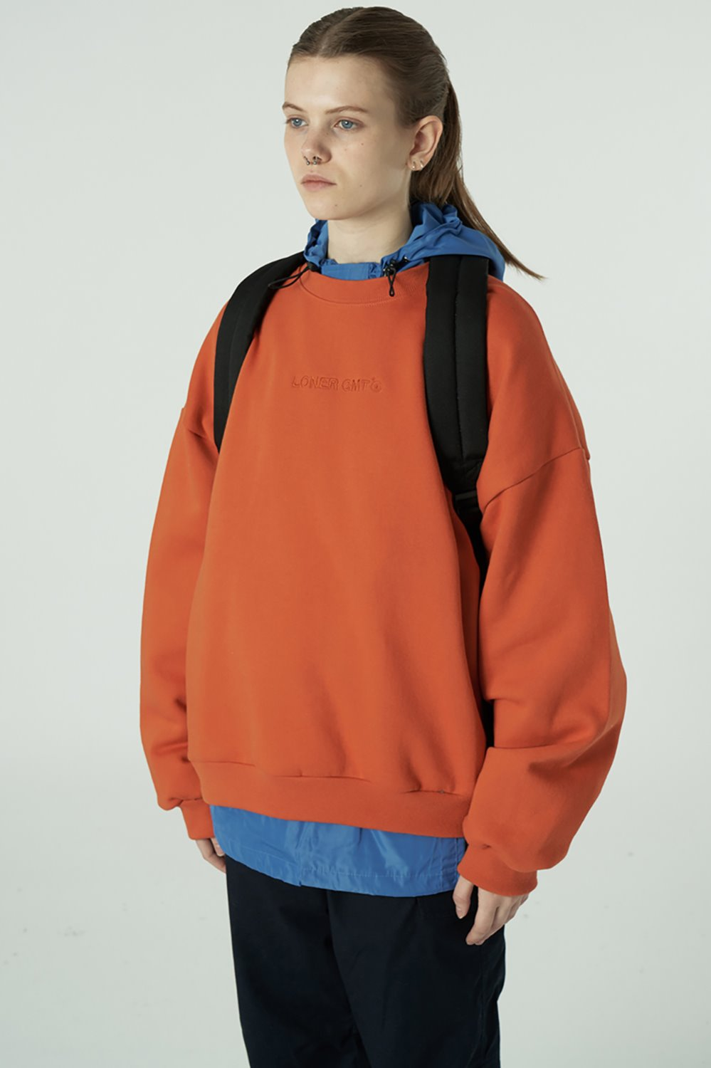[20SS OPEN SALE][L] Embroidey gmt logo sweatshirt-orange (기간한정 02.21 - 02.27)