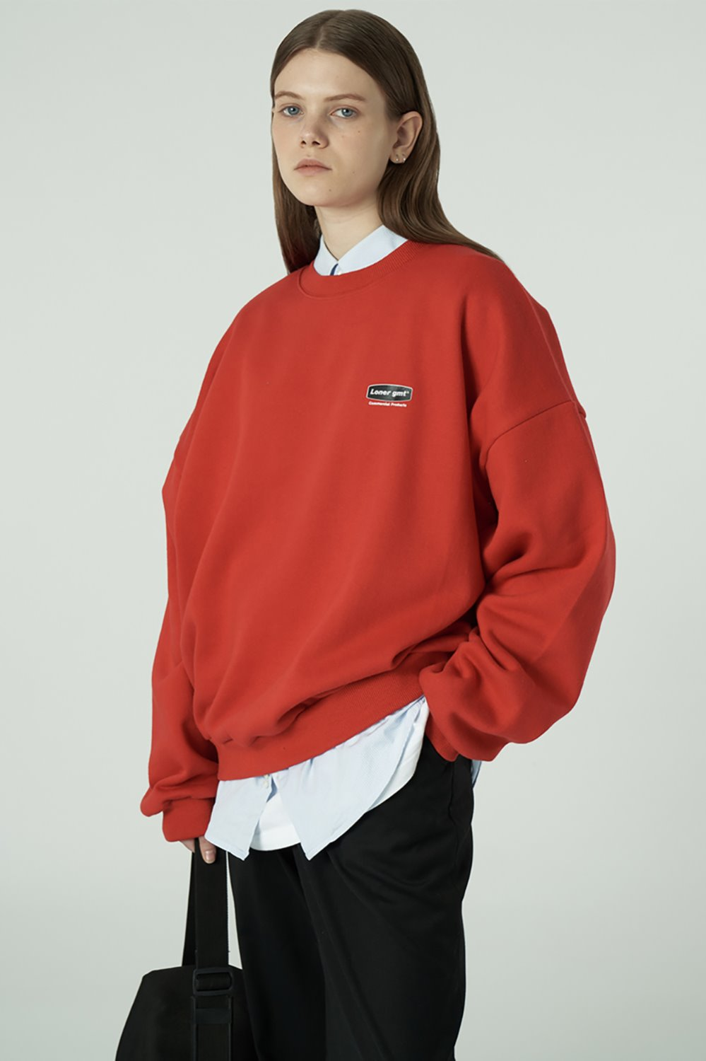 [20SS OPEN SALE][L] Small curve rectangle logo sweatshirt-red (기간한정 02.21 - 02.27)