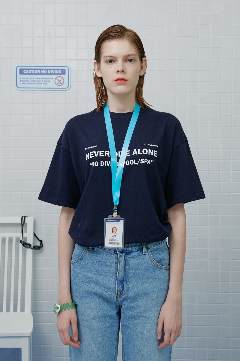 [LONER MID SALE] Never dive tshirt-navy (기간한정 12.06 - 12.12)