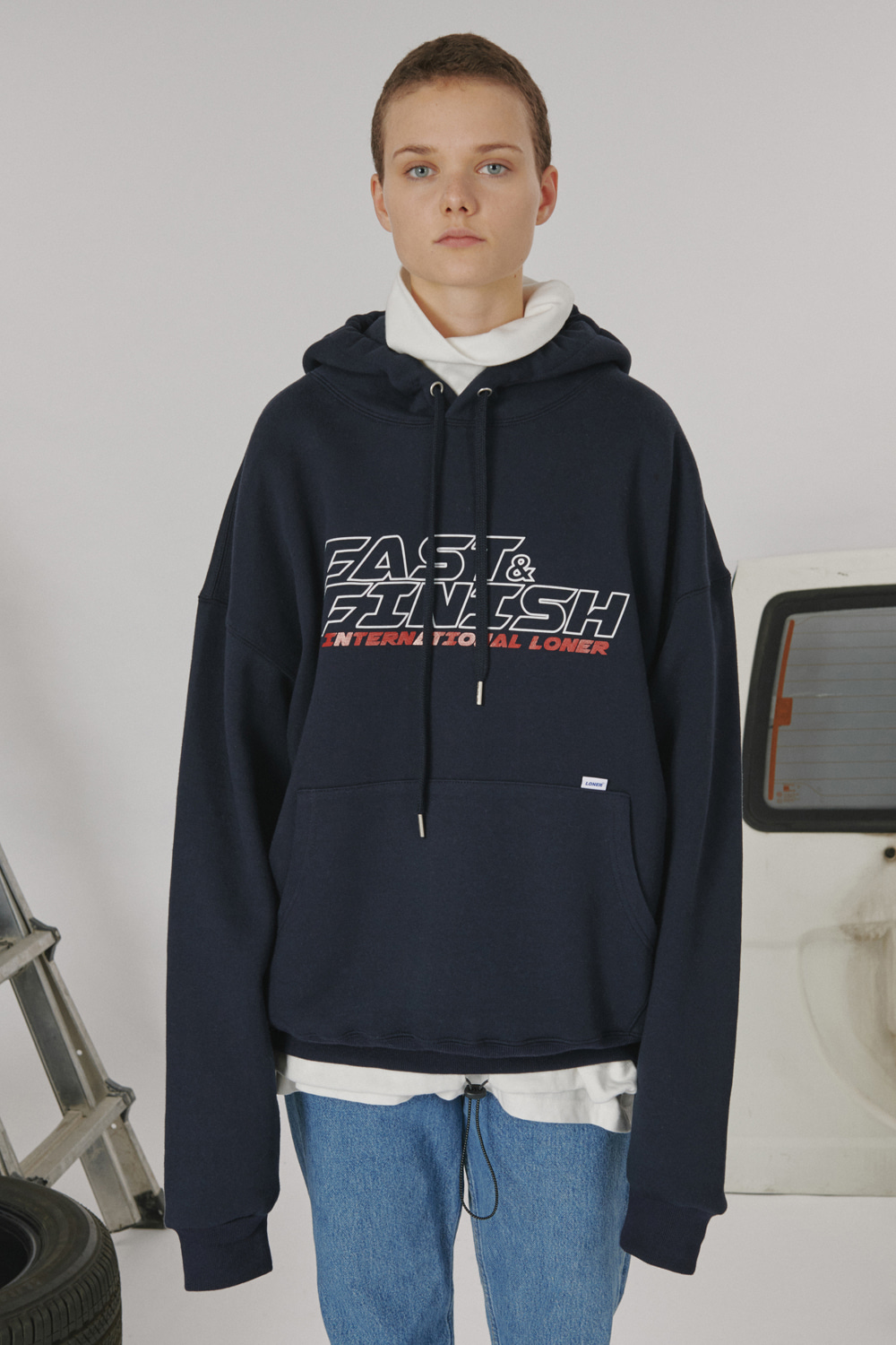[LONER SEASON OFF SALE] Fast and finish hoodie_navy (기간한정 01.17 - 01.23)